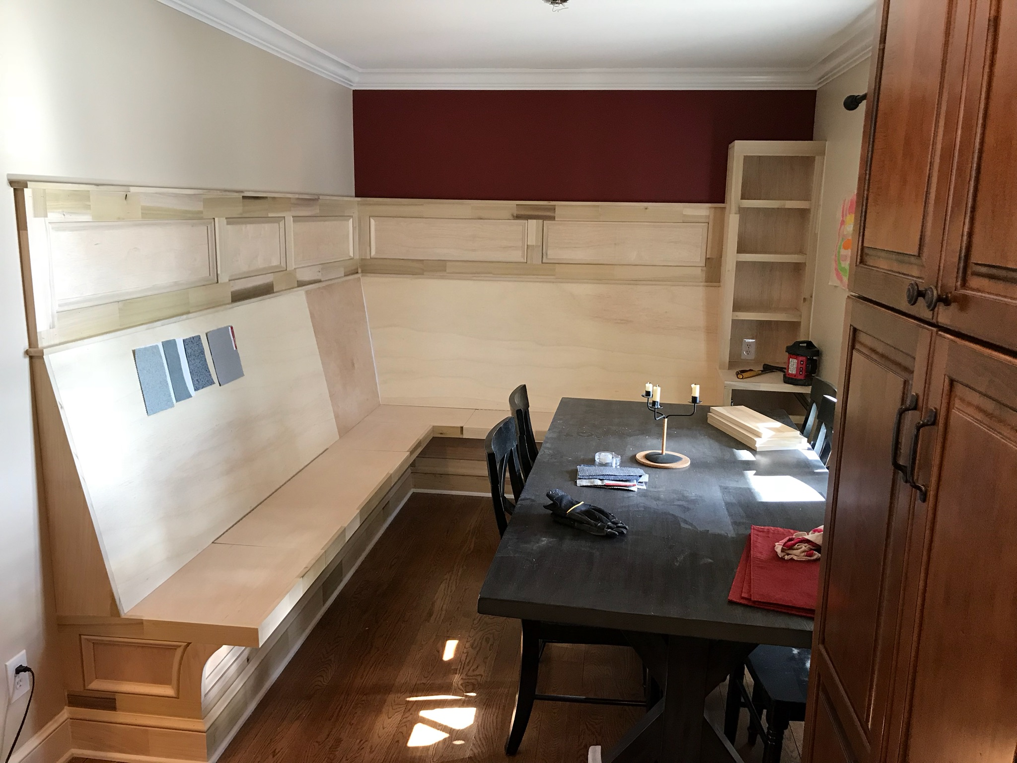Custom built nook seating area with storage, Worthington Carpentry Ohio