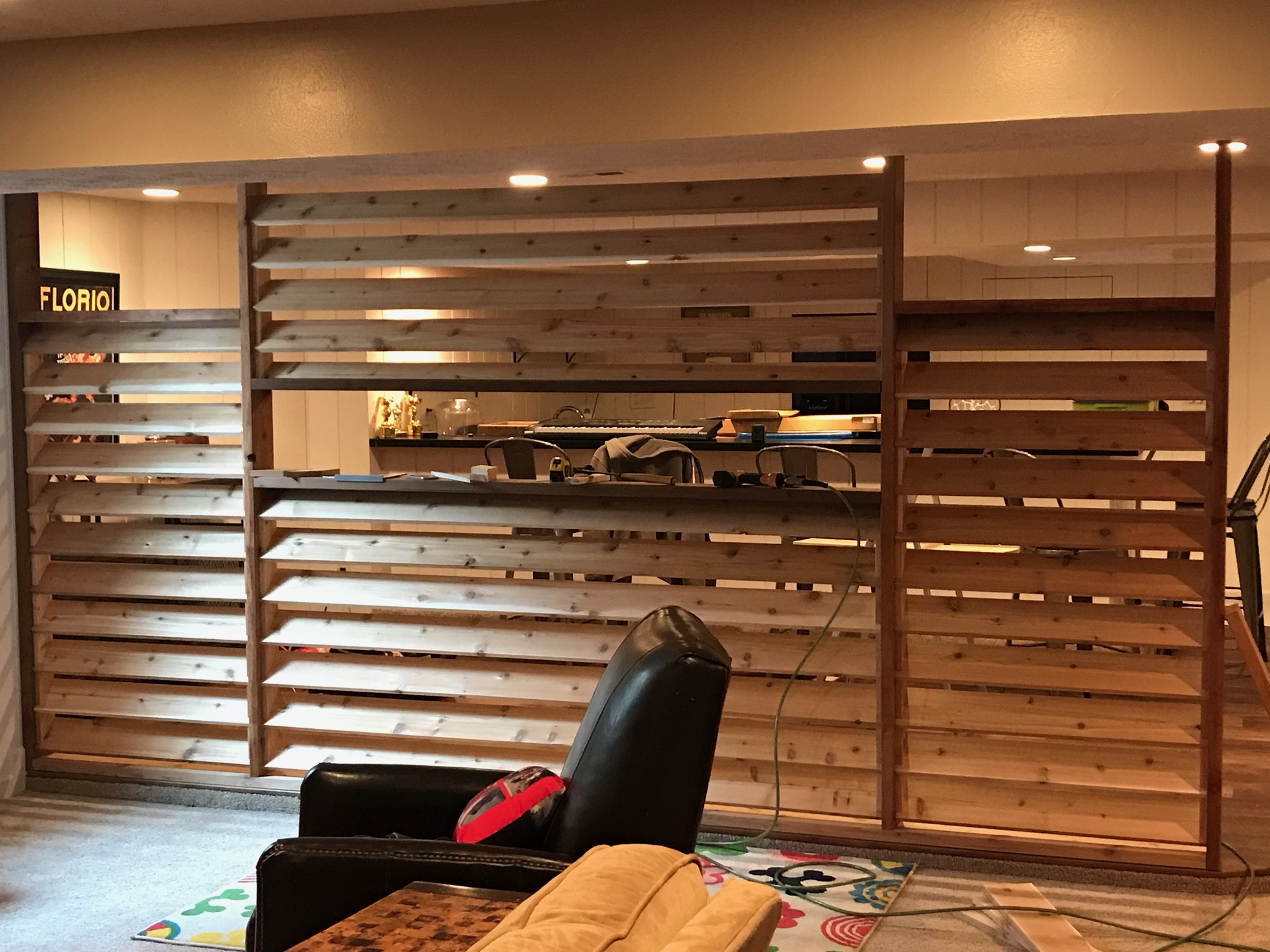 Louvered Wall and shelving in Worthington, Ohio