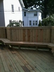 Carpentry custom seating area on a deck