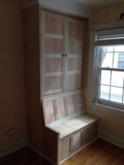 Columbus custom woodworking window seat and cabinet