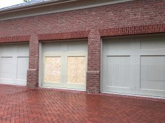 New trim on a garage door in New Albany Ohio