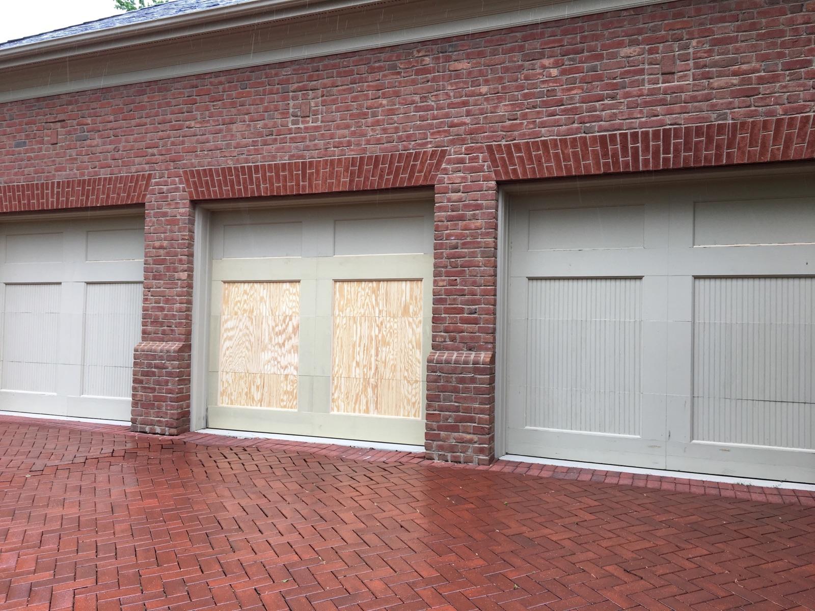 Trim carpentry on a garage door in New Albany Ohio
